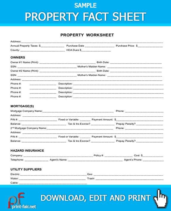 Real Estate Fact Sheet Template Property Fact Sheet