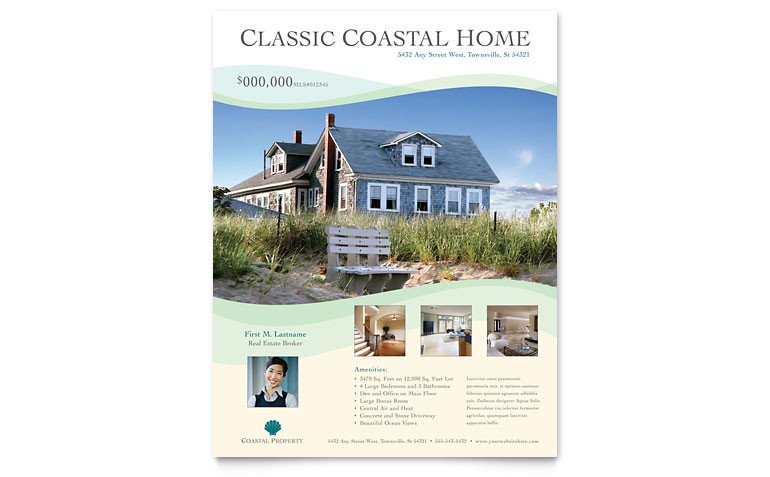 Real Estate Flyer Template Word Coastal Real Estate Flyer Template Word & Publisher