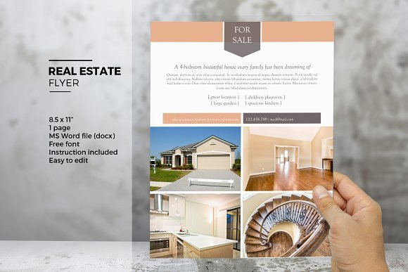 Real Estate Flyer Template Word Ms Word Real Estate Flyer Template Flyer Templates On