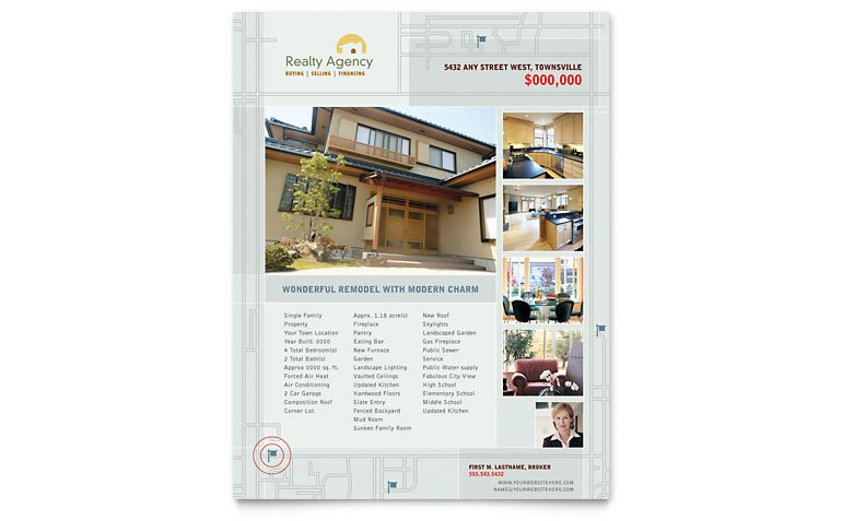Real Estate Flyer Template Word Real Estate Agent & Realtor Flyer Template Word & Publisher