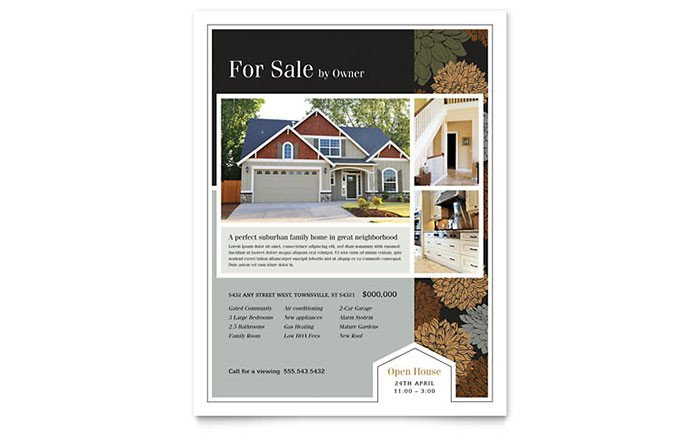Real Estate Flyer Template Word Suburban Real Estate Flyer Template Word & Publisher