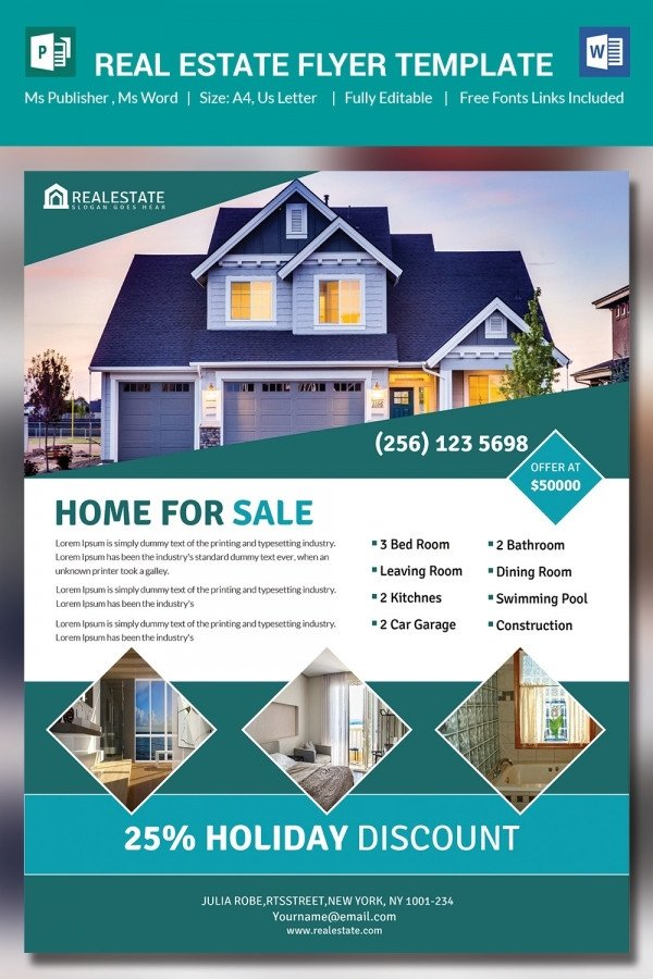 Real Estate Flyer Templates 26 Microsoft Publisher Templates Pdf Doc Excel