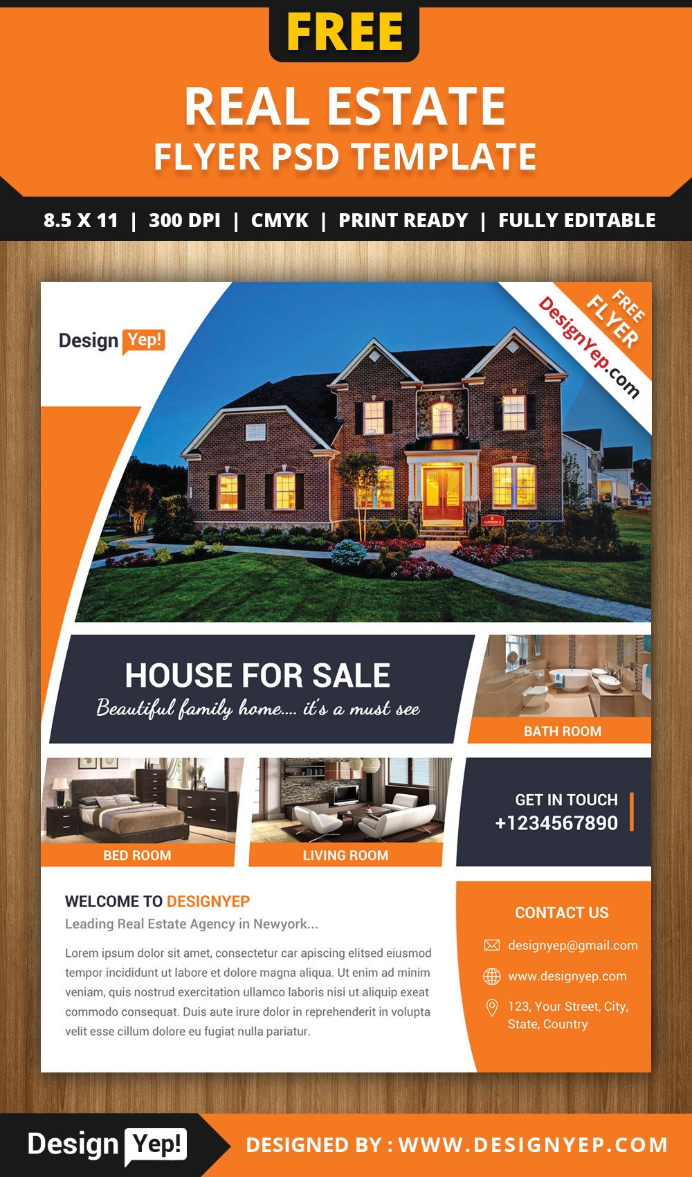 Real Estate Flyer Templates Free Real Estate Flyer Psd Template Designyep