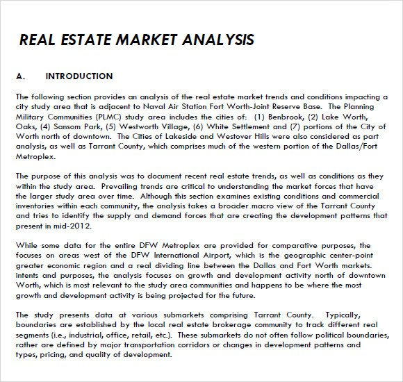 Real Estate Market Report Template Real Estate Market Analysis Template 7 Free Samples