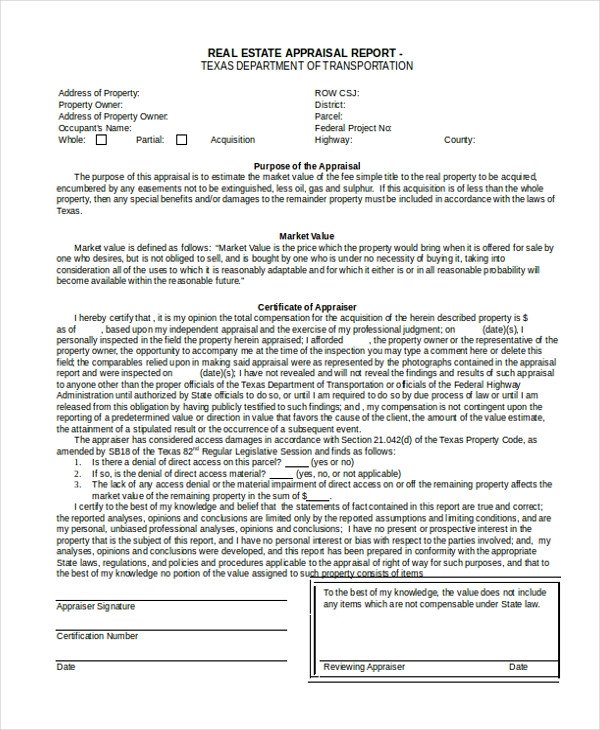 Real Estate Market Report Template Sample Real Estate Appraisal form 7 Free Documents In
