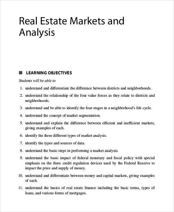 Real Estate Market Report Template Sample Real Estate Market Analysis 9 Examples In Pdf Word