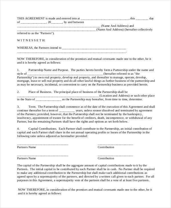 Real Estate Partnership Agreement 18 General Partnership Agreement Samples and Examples