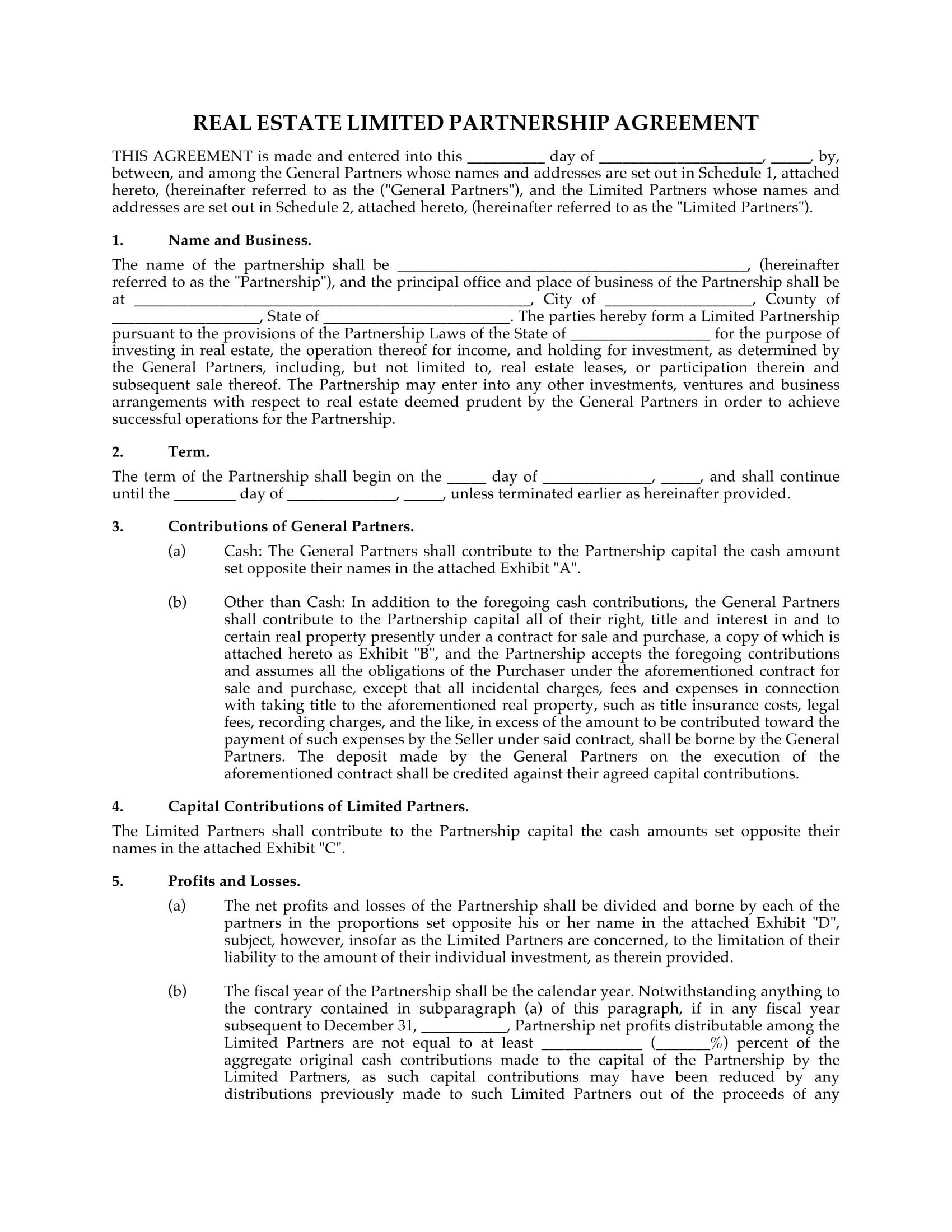 Real Estate Partnership Agreement 4 Limited Partnership Agreement forms Word Pdf