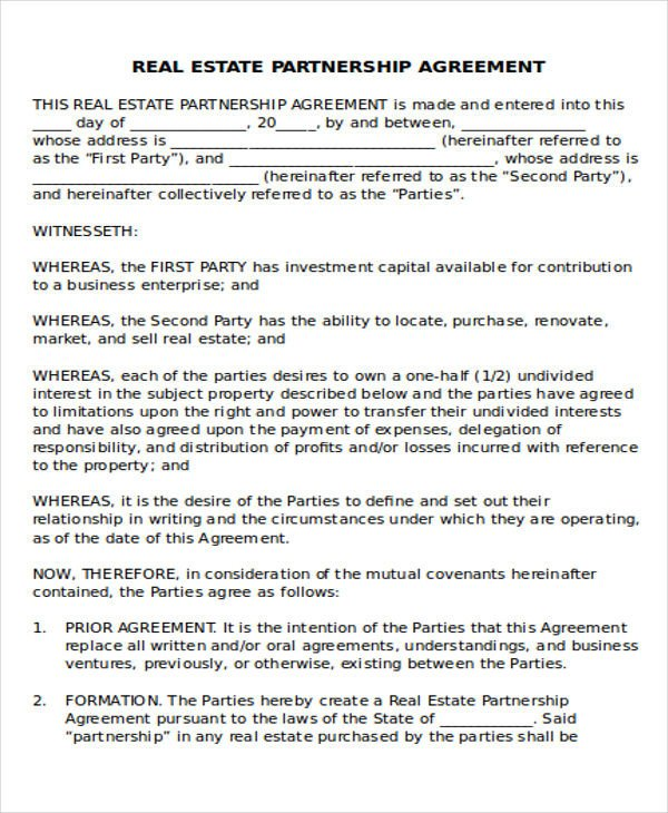 Real Estate Partnership Agreement 44 Agreement Templates In Word