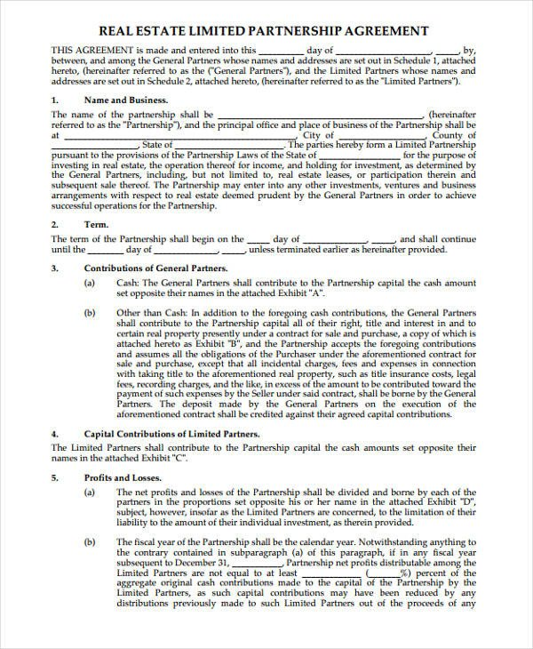 Real Estate Partnership Agreement 45 Printable Agreement forms Word Pdf