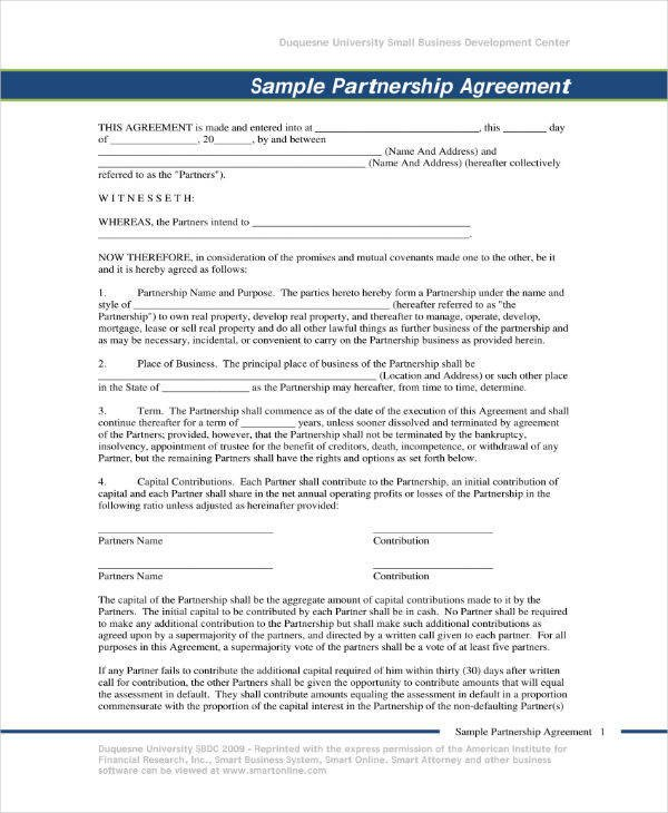 Real Estate Partnership Agreement 6 Real Estate Partnership Agreement Templates Pdf Word