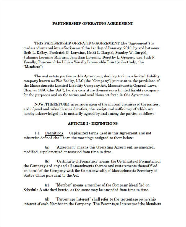 Real Estate Partnership Agreement 60 Examples Of Partnership Agreements Word Apple Pages
