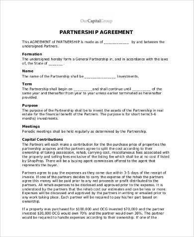 Real Estate Partnership Agreement Free Agreement form Samples 30 Free Documents In Word Pdf
