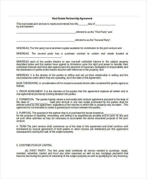 Real Estate Partnership Agreement General Partnership Agreement 15 Free Pdf Word