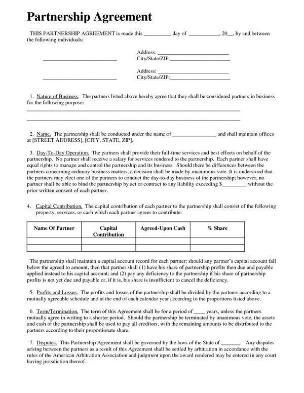 Real Estate Partnership Agreement Printable Sample Partnership Agreement Sample form