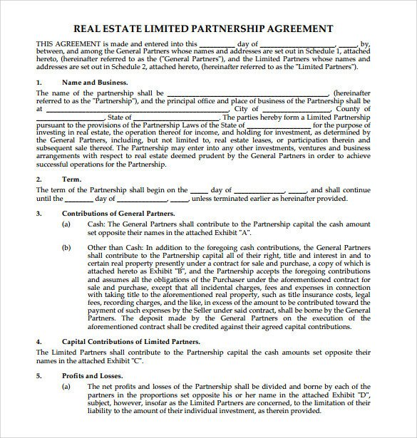 Real Estate Partnership Agreement Sample Real Estate Partnership Agreement 10 Free