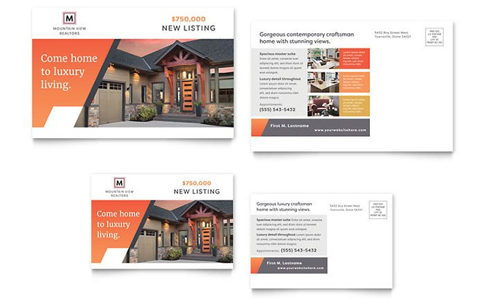 Real Estate Postcard Templates Mountain Real Estate Postcard Template Design