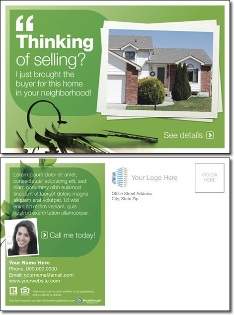 "Real Estate Postcard Templates ""thinking Selling "" Postcard"
