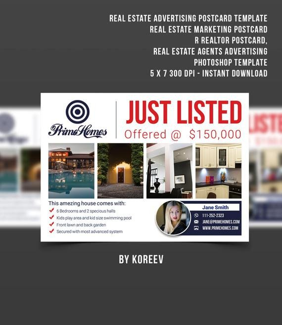 Real Estate Postcard Templates Real Estate Advertising Postcard Template Real Estate