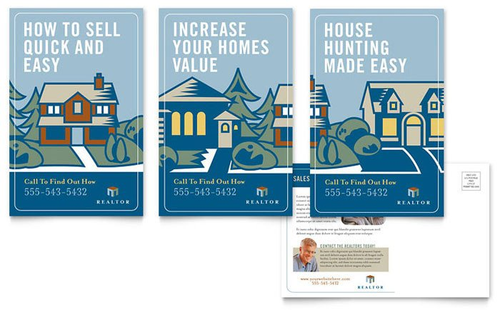 Real Estate Postcard Templates Real Estate Agent Postcard Template Design