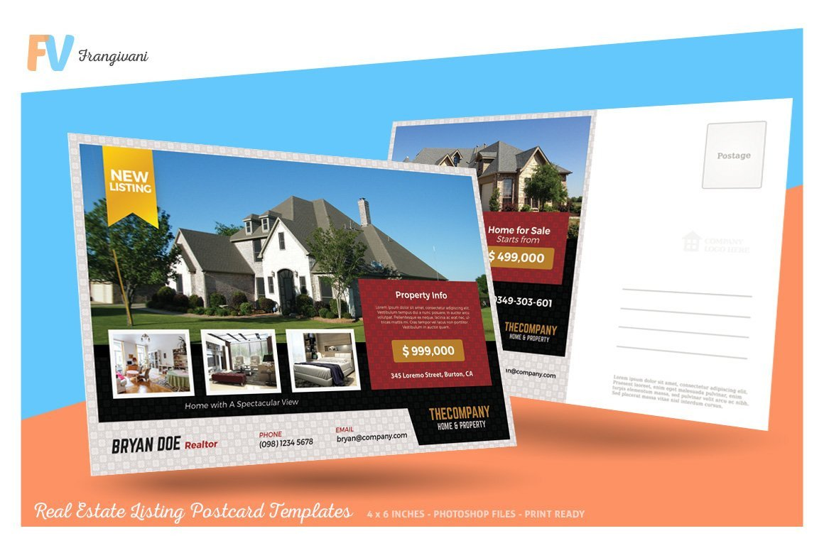 Real Estate Postcard Templates Real Estate Listing Postcard Postcard Templates