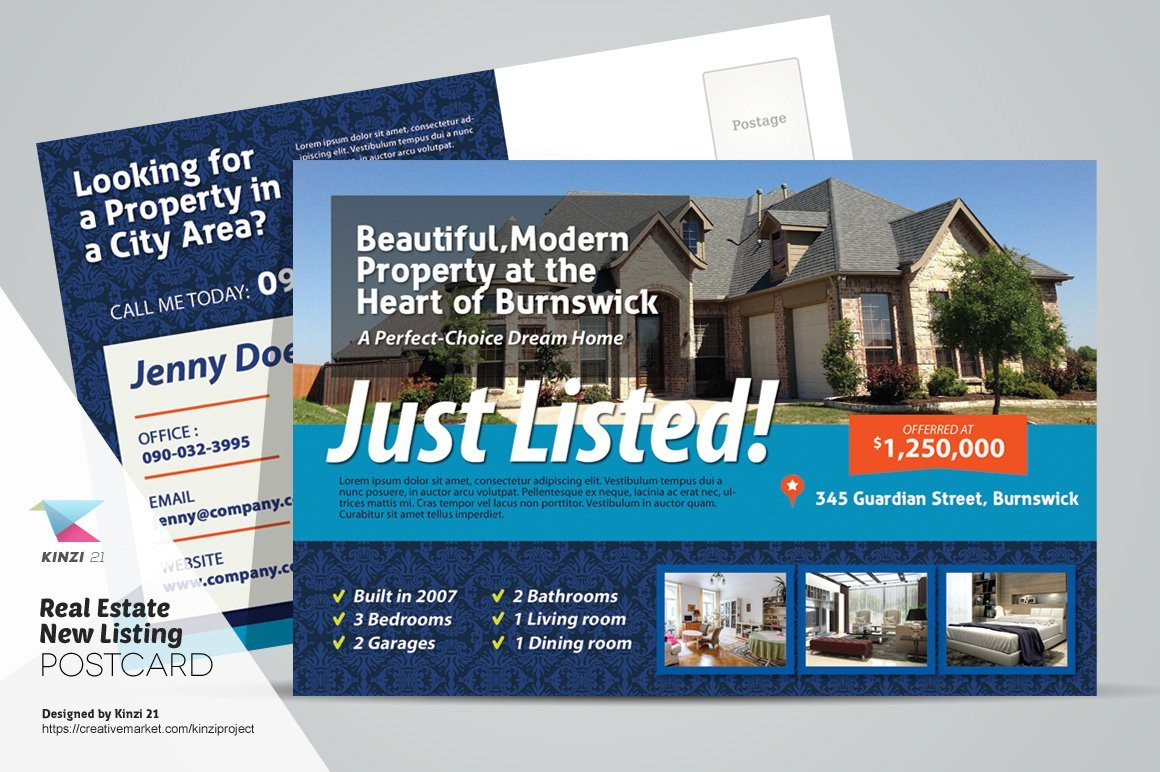 Real Estate Postcard Templates Real Estate New Listing Postcard Postcard Templates
