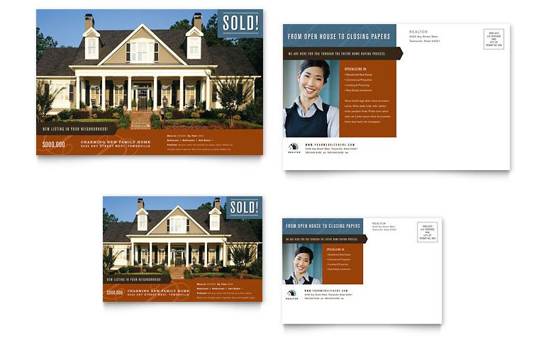 Real Estate Postcard Templates Residential Realtor Postcard Template Word & Publisher