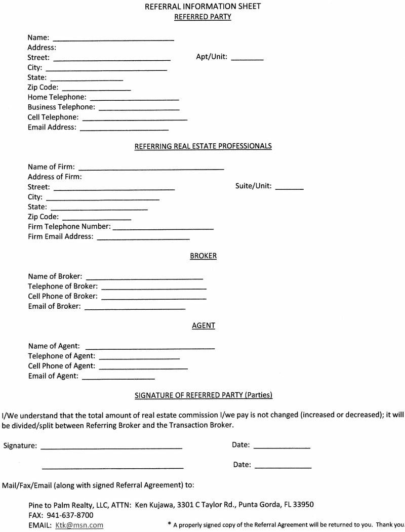 Real Estate Referral form 12 Best S Of Real Estate Agent Referral form Free