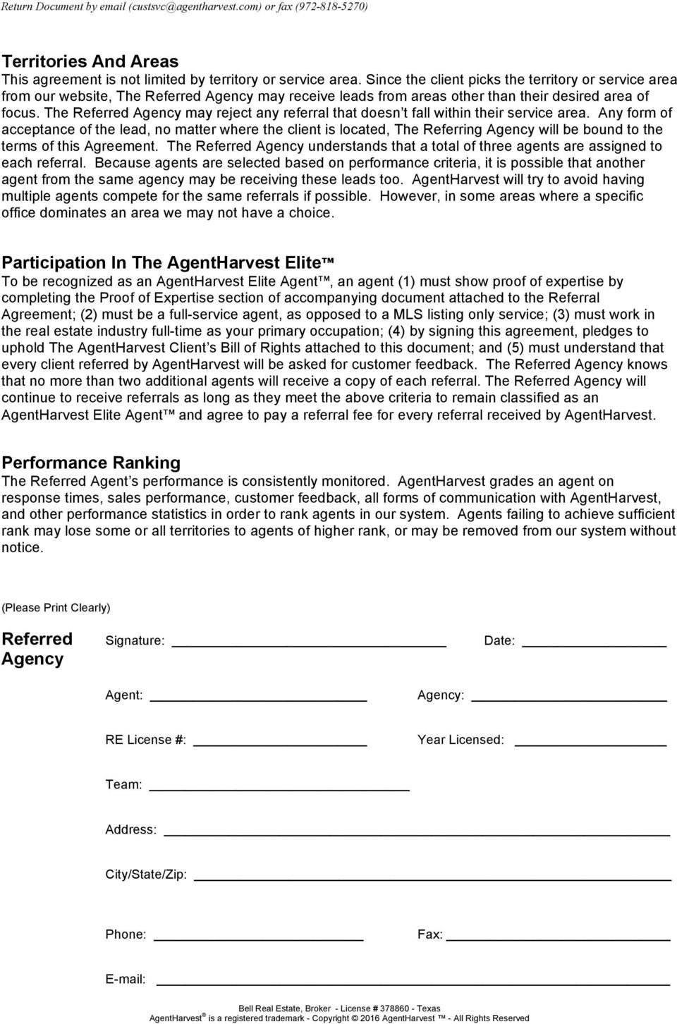 Real Estate Referral form Agentharvest Elite Agent Real Estate Client Referral