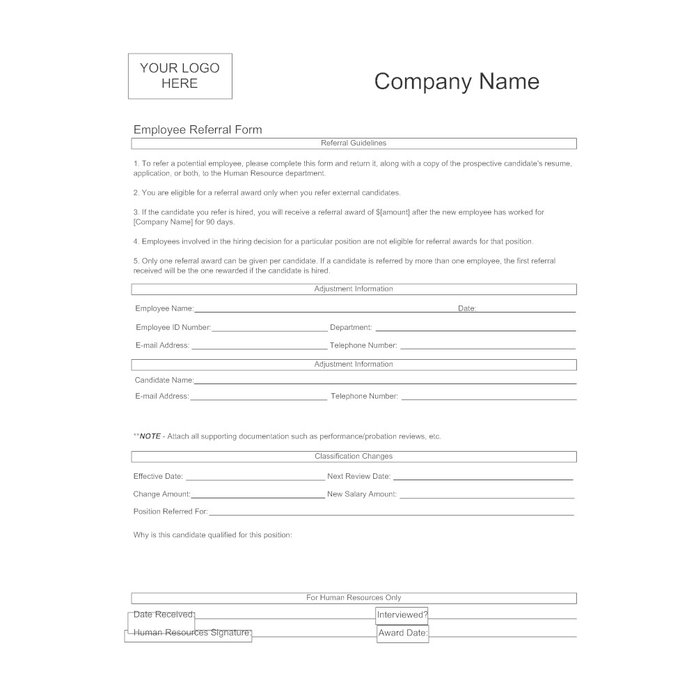 Real Estate Referral form Employee Referral form