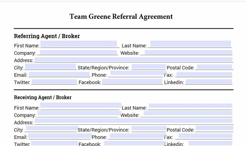 Real Estate Referral form Real Estate Referral Agreement