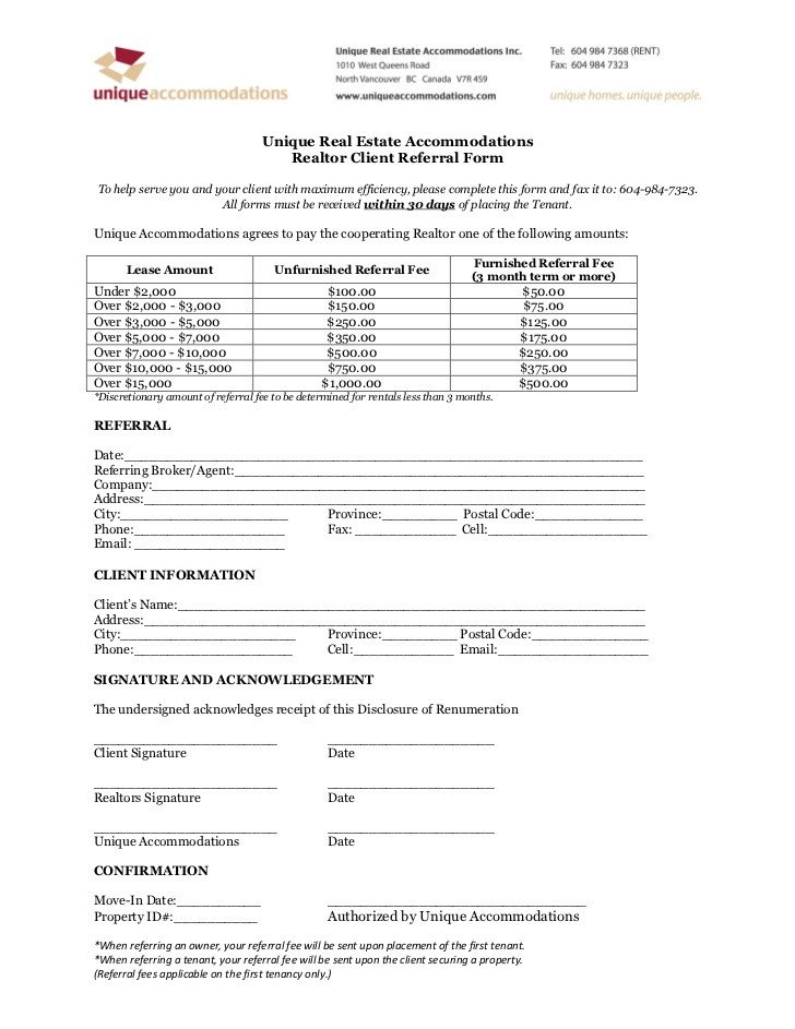 Real Estate Referral form Realtor Client Referral form