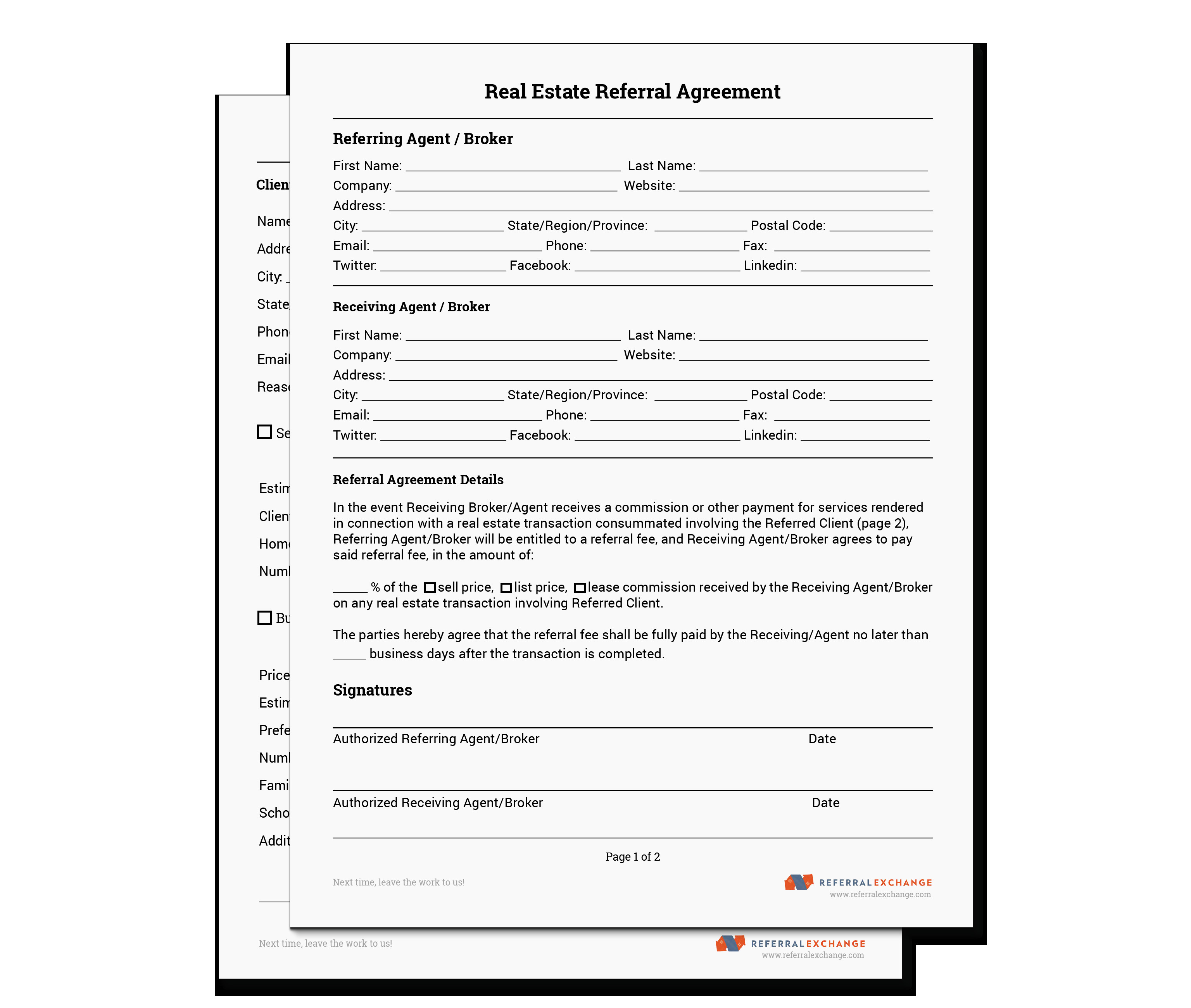 Real Estate Referral form Realtor Referral form Free Download