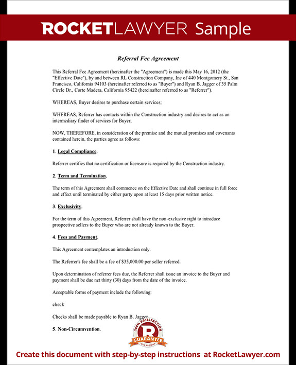 Real Estate Referral form Referral Fee Agreement Template form with Sample