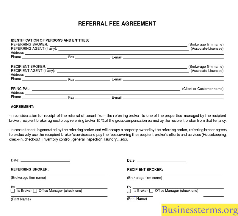 Real Estate Referral form Referral Fee Real Estate Definition and Example