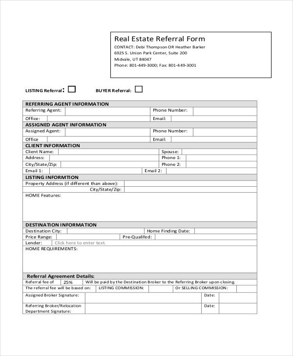 Real Estate Referral form Sample Real Estate form 16 Free Documents In Pdf