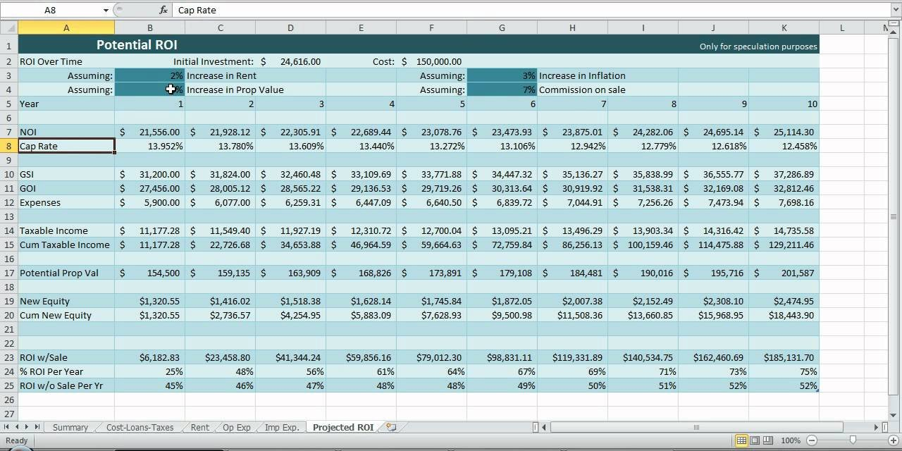 Real Estate Spreadsheet Templates Investment Property Spreadsheet Real Estate Excel Roi