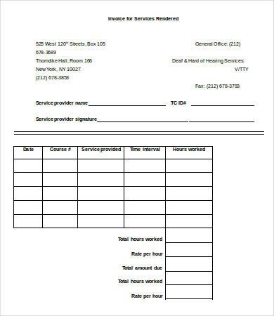 Receipt for Services Template Blank Receipt Template 8 Free Sample Example format