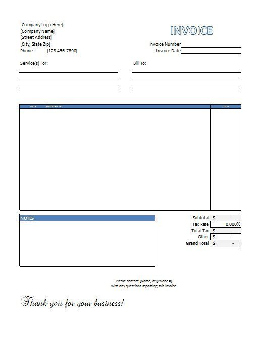 Receipt for Services Template Excel Service Invoice Template Free Download