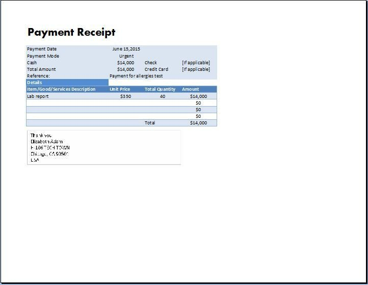 Receipt for Services Template Ms Excel Payment Receipt Template