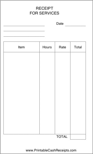 Receipt for Services Template Receipt for Services
