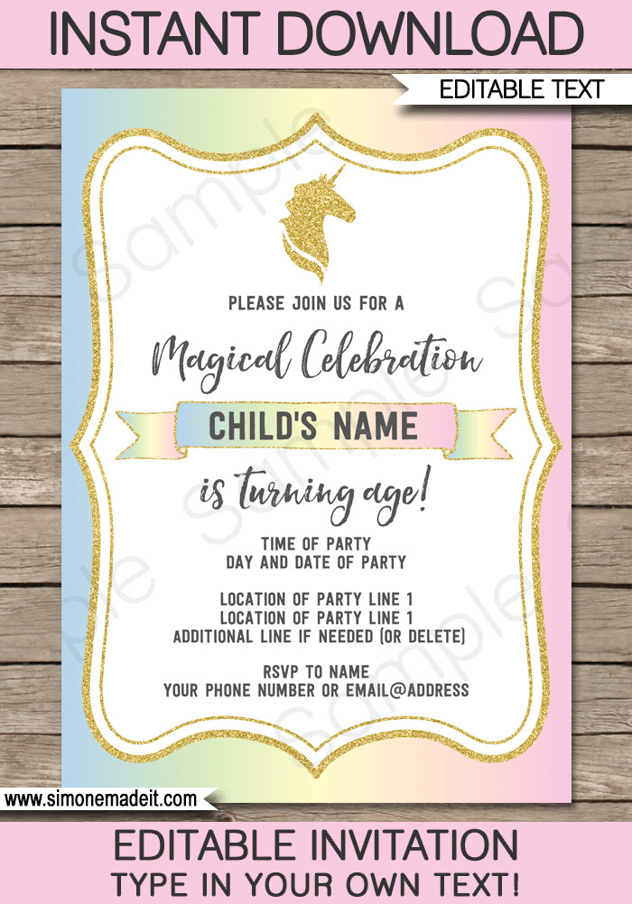Reception Invitation Template Free Unicorn Party Invitations Template