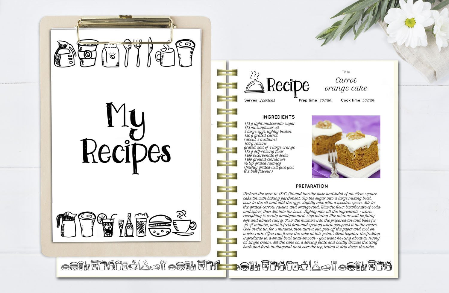Recipe Book Template Word Black and White Recipe Book Template Editable Recipe