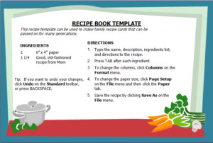 Recipe Book Template Word Menu Templates