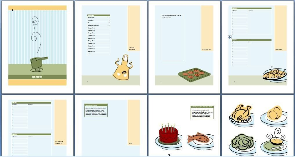 Recipe Book Template Word Printable Cookbook Template for Word