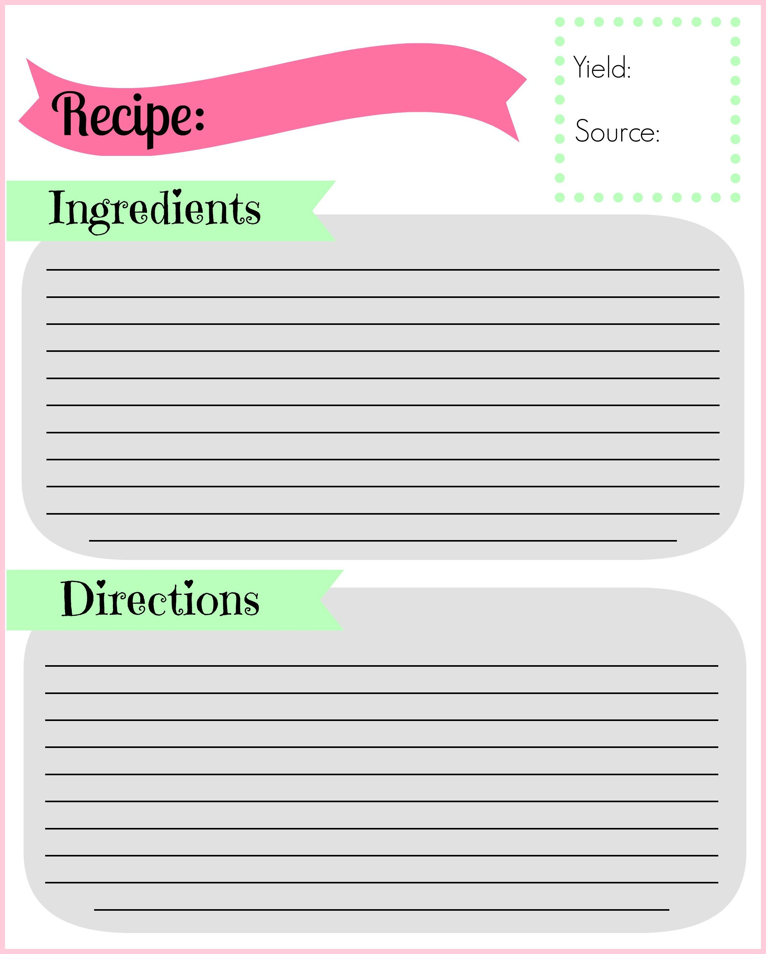 Recipe Template for Pages Diy Recipe Binder