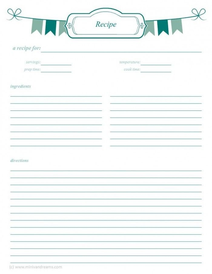 Recipe Template for Pages Meal Planning Binder Recipe Pages