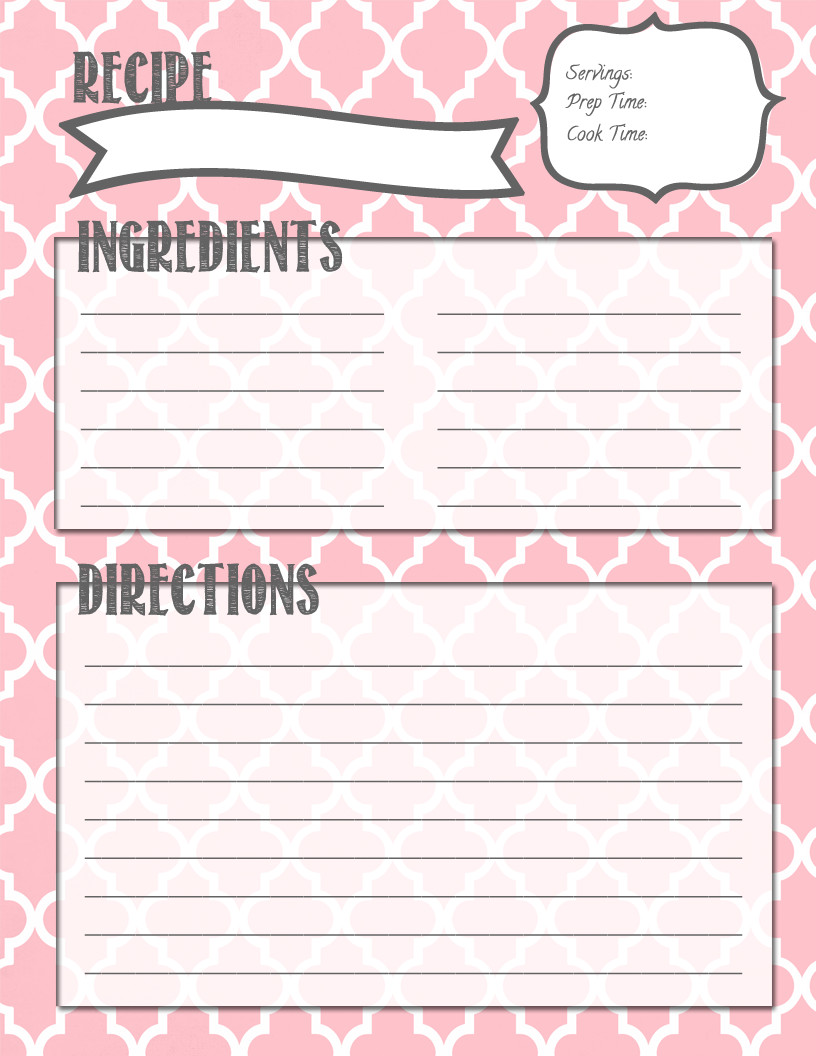 Recipe Template for Pages Melanie Gets Married Recipe Binder Printables