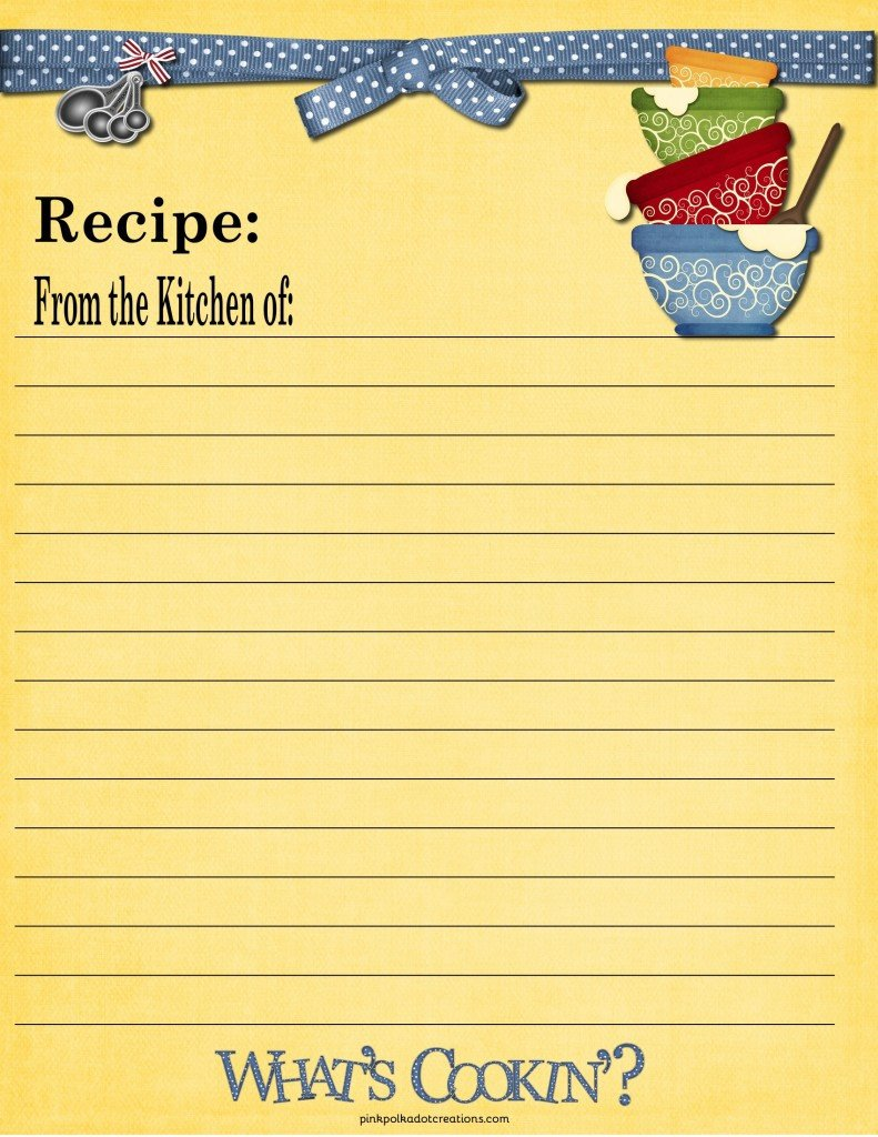 Recipe Template for Pages Recipe Cards Pink Polka Dot Creations