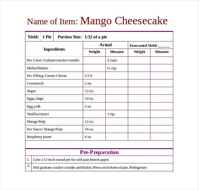 Recipe Template for Word 43 Amazing Blank Recipe Templates for Enterprising Chefs